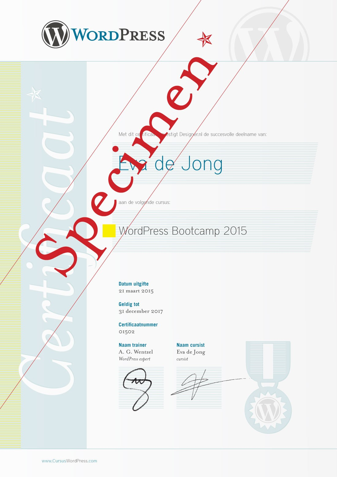 WordPress training certificaat