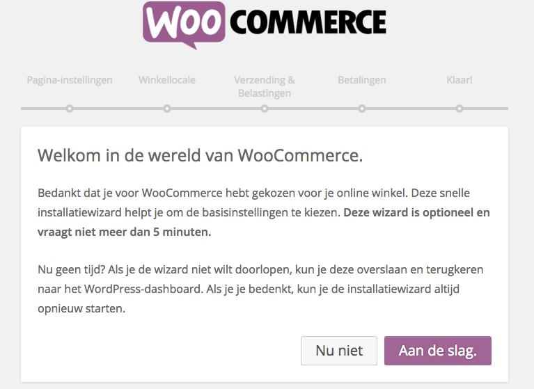 woocommerce wordpress plugin webshop Installatie wizard