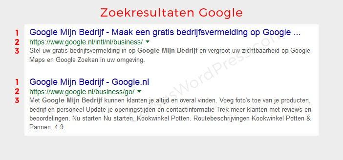 google zoekresultaten titel omschrijving meta