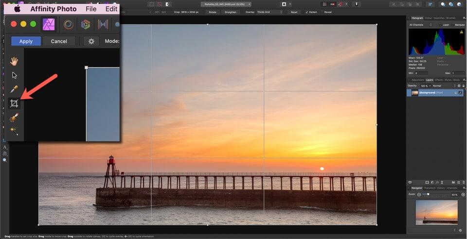 Hoe een beeld bijsnijden in Affinity Photo