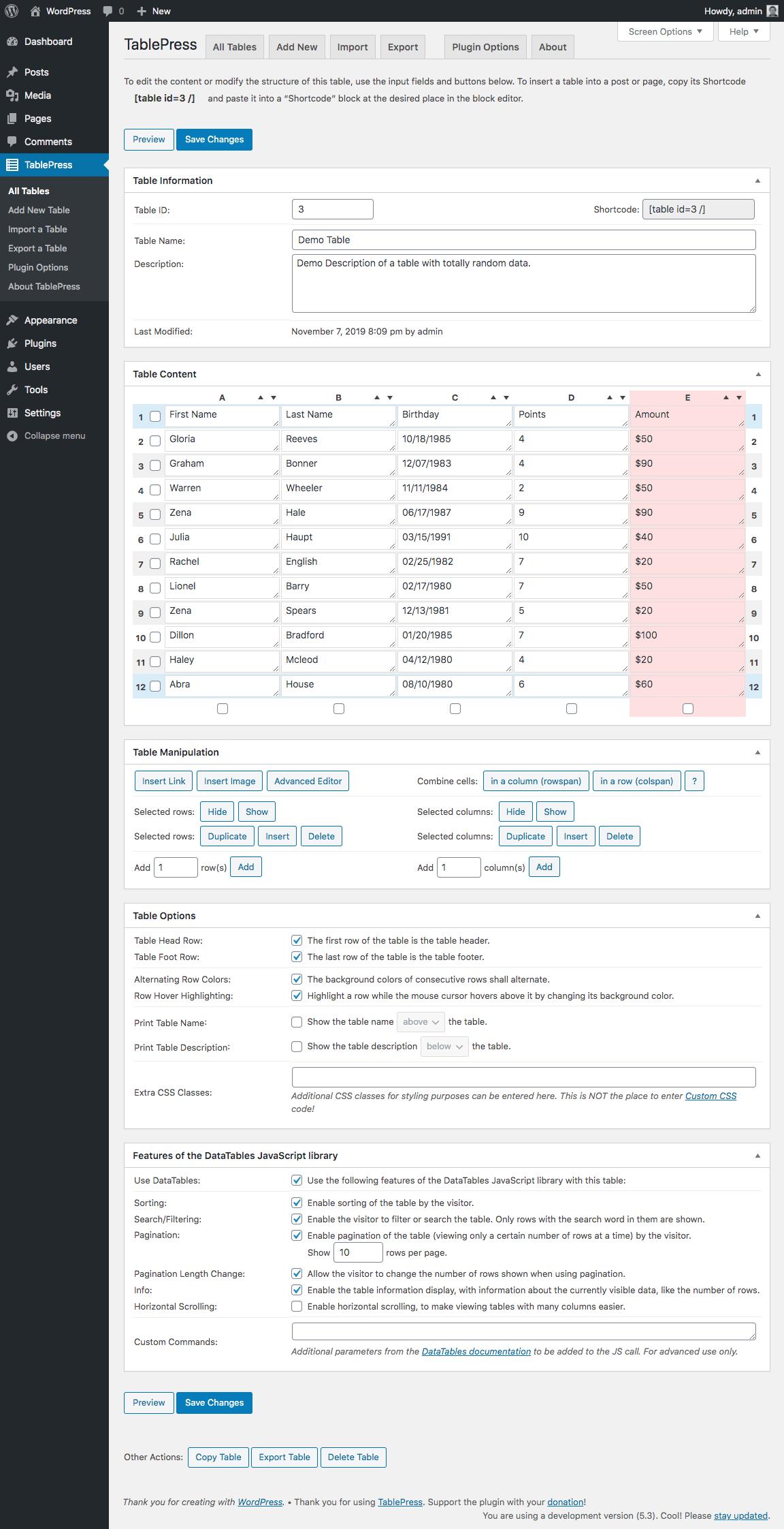 Tablepress tabellen maken WordPress